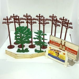 Vintage Model RR Telephone Polls Billboards Trees
